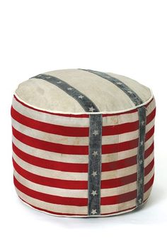 Recycled Canvas Stripe Pouf by Vintage Modern Decor on @HauteLook