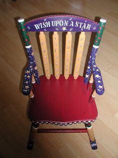 Folk Art Rocking Chair for Children by ladybugheirlooms on Etsy, $235.00
