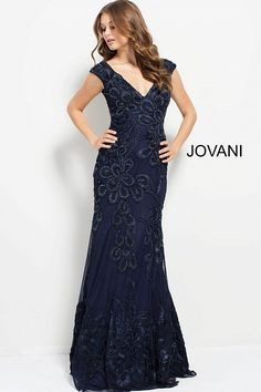eec05a3bfb3 Navy Embroidered Cap Sleeve V Neck Gown  49977  Jovani  Fall2017 Jovani  Dresses