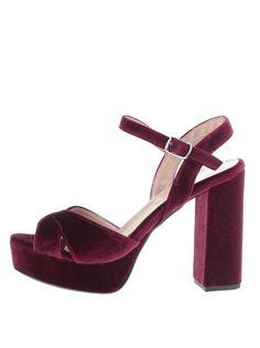 Vínové sametové sandálky OJJU