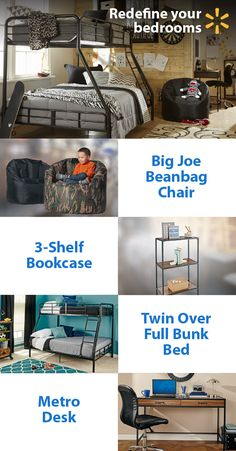 It's the perfect time of year for indoor projects. Refresh your bedrooms and put the fun back in tax refund with fun new furniture ideas from Walmart. Your kids will love relaxing on a Big Joe beanbag chair. A metro desk and bookshelf are great for school projects, toys & more. Bunk beds will save space & add some extra fun! Looking for tips on the best ways to spend your refund? Get low prices on bedroom items and everything else on your tax time shopping wish list at Walmart.
