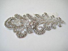 Vintage style bridal crystal beaded wedding headpiece by IngenueB, $130.00