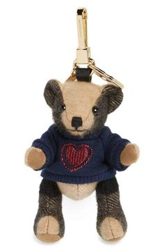Burberry 'Thomas Bear Heart Sweater' Check Cashmere Bag Charm