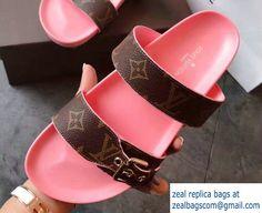 Louis Vuitton Bom Dia Mules Sandals Pink 2017