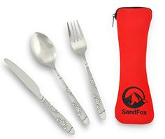 SandFox Camping Utensils Premium Class Stainless Steel Cutlery Set of Spoon Fork and Knife With Quality Neoprene Case Red * Continue to the product at the image link. Note:It is Affiliate Link to Amazon.