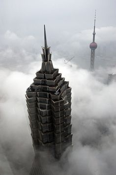 sexncomics:    jianchen1230:    jin mao tower and shanghai tv tower by Gaellery on Flickr.  云端    !