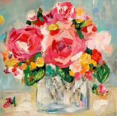"Small Floral Still Life, Impressionistic, Abstract Flowers in Vase, Original on Canvas 12""x 12"", ""Megan"""