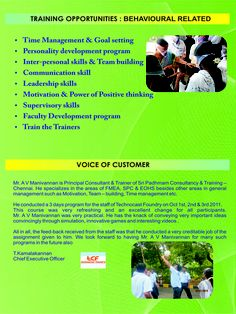 Behavioral related Training programs conducted by Sri Padhmam Consultancy & Training.