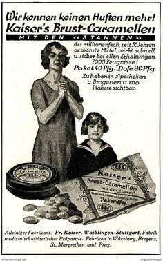 Werbung - Original-Werbung/Anzeige 1925 - KAISER'S BRUST - CARAMELLEN / WAIBLINGEN - ca. 65 x 110 mm