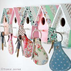 Bird House Key Hooks made with Washi Tape