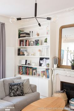 Renovierung einer Wohnung in Vincennes - IDEAS - Dekor Labor Living Room Colors, Home Living Room, Living Room Decor, Living Spaces, Bookshelf Design, Bookshelves, Parisian Apartment, Decorating Small Spaces, Home Decor Styles