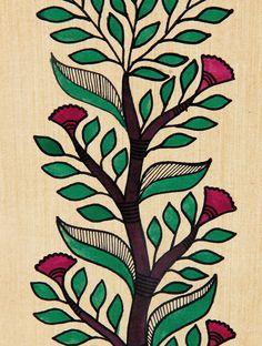 Pradyumna Kumar's Tree of Life Madhubani Artwork with Flowers - x Madhubani Art, Madhubani Painting, Kalamkari Painting, Worli Painting, Fabric Painting, Fabric Paint Designs, Indian Art Paintings, Paintings Famous, Flower Paintings