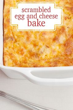 An easy baked casserole with scrambled eggs and cheese.