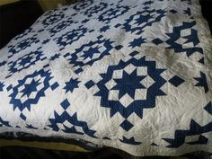 1900's-30's Broken Star Feedsack Fabric Blue & White Quilt @Carla Faulkner! The swoon block even has old, old roots!!!