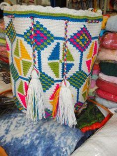 mochila wayuu original  algodon,lana kanna
