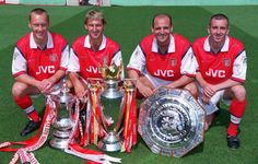 Silverware was always likely with a back four of Lee Dixon, Tony Adams, Steve Bould, and Nigel Winterburn. Arsenal Fc, Arsenal Players, Football Icon, Arsenal Football, Football Players, Lee Dixon, Tony Adams, Arsene Wenger, Kunst