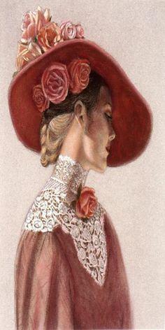 Victorian Lady In A Rose Hat Print By Sue Halstenberg, pastel Vintage Abbildungen, Moda Vintage, Vintage Roses, Vintage Ladies, Victorian Hats, Victorian Women, Victorian Fashion, Vintage Pictures, Vintage Images