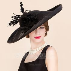 Ladies' Glamourous Summer Cambric With Feather/Silk Flower Bowler/Cloche Hat (196086570)
