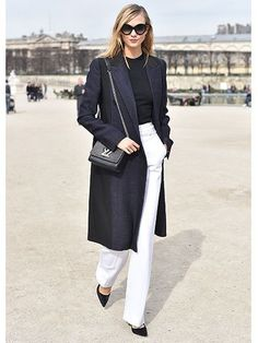 29641d040fd Karlie Kloss on the street in Paris wearing white wide-leg pants