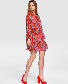 Vestido de mujer Kookai rojo con estampado paisley