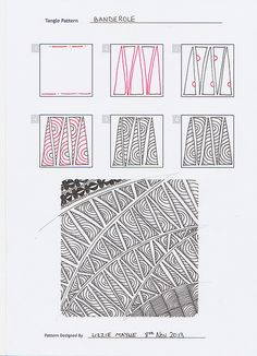 Banderole_steps_Lizzie Mayne Zentangle pattern, step by step.