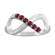 10K White Gold Round-Cut 6-Stone Infinity Mothers Ring (Size 6.5,Garnet), Women's, Red