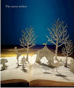 This would be cute with a Nativity scene and a Bible... But you probably shouldn't cut the pages from the Bible, maybe use another book.