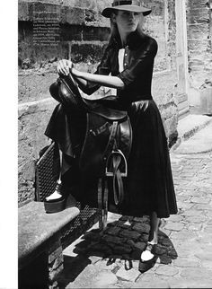 French Riding (Harper's Bazaar Germany). Love the little creeper of a shoe with this classic look