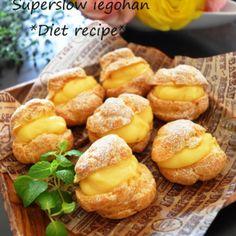 すぐ作れる「シュークリーム」思い立った時に、突然のお客様に。 Sweets Recipes, Fruit Recipes, Veggie Recipes, Donuts, Custard Desserts, Bakery Cafe, Japanese Sweets, Something Sweet, Biscotti
