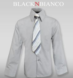 Boys Gray Button Down Dress Shirt with Tie By Black n Bianco