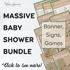 Order this massive printable Woodland baby shower bundle and receive a FREE matching Invitation! Included in this bundle are signs, games and a banner. Baby Shower Bingo, Baby Shower Invitations, Dont Say Baby Game, Gift Table Signs, Rustic Baby, Woodland Baby, Baby Shower Decorations, A Table, Neutral