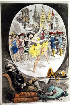 Alfred Robida's 'Telephonoscope' 1883 Wells, Edwardian Era, Victorian, Albert Robida, History Of Television, Comic Styles, Retro Futurism, Science Fiction, Fantasy Art
