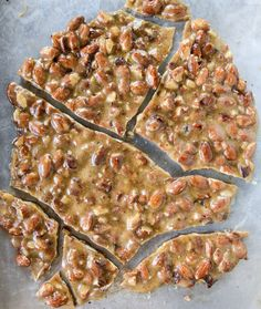 bacon almond brittle with vanilla beans - tasted delicious, but mine never hardened like it needed to. Brittle Recipes, Nut Recipes, Candy Recipes, Dessert Recipes, Bean Recipes, Yummy Recipes, Baking Recipes, Cookie Recipes, Snack Recipes