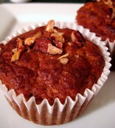 Banana Pecan Muffins - the bulk of the sweetener comes from the bananas, with 1 T. of honey, yum!