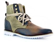 J SHOES. Thomas by J Shoes. A men's lace up workwear inspired ankle boot featuring a hand burnished  leather/canvas upper, fabric lining and a hard wearing white rubber sole. For this seasons key look wear with the latest style jeans and slightly tuck in
