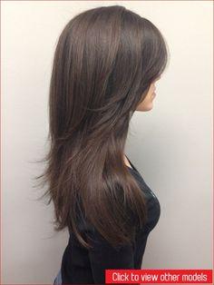 Frisuren Lange Haare 2019 - Lange Layered V-Haarschnitt Halblang Women Haircuts Long, Haircuts For Long Hair, Layered Haircuts, Straight Hairstyles, Long Hair V Cut, Braids For Medium Length Hair, Long Layered Hair, V Cut Haircut, Asian Haircut