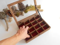 Wooden tea box with glass display jewelry box for small tea