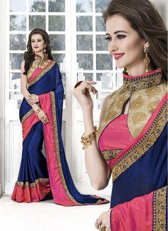 Fetching Blue and Pink Jacquard Stylish Saree