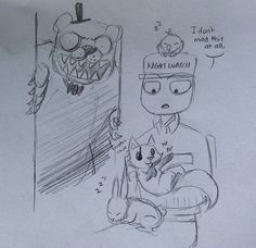 Five Nights at Freddy's As animals with mike ^^^ *pats Freddy with a broom* No