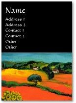 SUNFLOWERS AND COUNTRYSIDE IN TUSCANY Business Cards for nature lovers Original painting by Bulgan Lumini