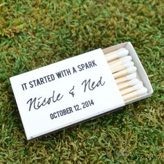 """50 """"It Started with a Spark"""" Wedding Favor Matches - 1.20 each by GraciousBridal on Etsy https://www.etsy.com/listing/193611112/50-it-started-with-a-spark-wedding-favor"""