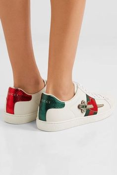 Rubber sole measures approximately 20mm/ 1 inch White leather, metallic green and red watersnake Lace-up front Watersnake: Indonesia Made in Italy