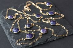 Long Rose Cut Blue Sapphire Station Necklace in 14kt Gold -- but in silver!