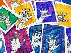 Happy Diwali everyone! 3rd grade liquid watercolors, henna