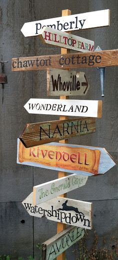 Garden signs with literary inspirations including Whoville and Watershipdown