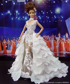 Barbie miss new caledonia ninimomo 2009 2010 Barbie Bridal, Barbie Wedding, Barbie Gowns, Barbie Clothes, Miss Pageant, Manequin, Barbie Miss, Diva Dolls, Bride Dolls