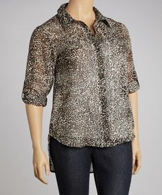 Take a look at this Brown Leopard Button-Up - Plus by Apollo on #zulily today!