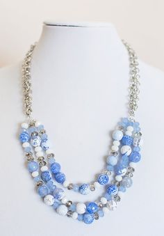 The Eleanor necklace dyed ice blue agate with by jacquelineandco #craftshout0121