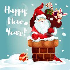 Vintage Christmas poster design with Santa Claus elf & snowman