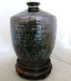 """Antique Chinese or Japanese Vase with Black & Brown Flambe Drip Glaze  (8.4"""")"""